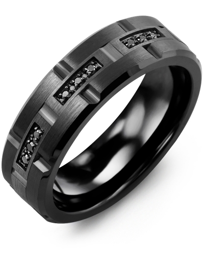 Men's & Women's Black Ceramic Brush Grooves & Black Gold + 9 Black Diamonds 0.09ct Wedding Band