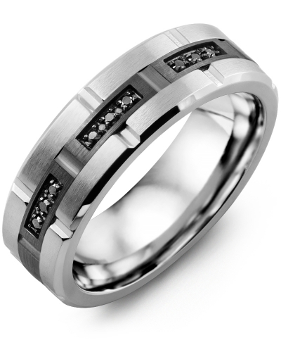 Men's & Women's Cobalt Brush Grooves & Black Gold + 9 Black Diamonds tcw 0.09 Wedding Band from MADANI Rings. Wedding bands, fashion rings, promise rings, made of Tungsten, Ceramic, Cobalt, and Gold. View the collection at madanirings.com