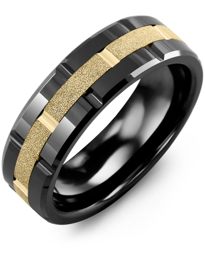 Men's & Women's Black Ceramic Polish Blades & Yellow Gold Wedding Band
