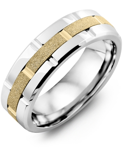 Men's & Women's Cobalt Polish Blades & Yellow Gold Wedding Band