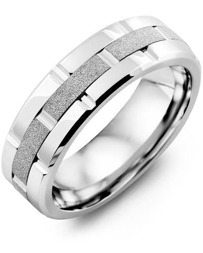 Men's & Women's Cobalt Polish Grooves & White Gold Wedding Band
