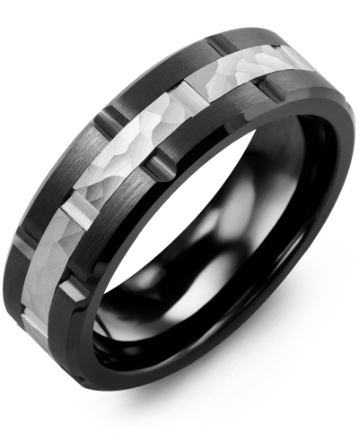 Men's & Women's Black Ceramic Brush Grooves & White Gold Wedding Band