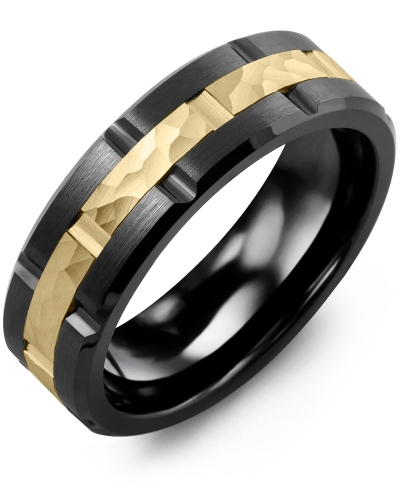 Men's & Women's Black Ceramic Brush Grooves & Yellow Gold Wedding Band
