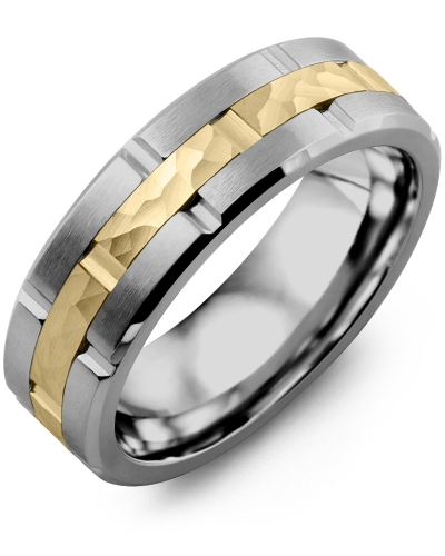 Men's & Women's Tungsten Brush Grooves & Yellow Gold Wedding Band from MADANI Rings. Wedding bands, fashion rings, promise rings, made of Tungsten, Ceramic, Cobalt, and Gold. View the collection at madanirings.com