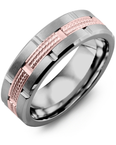 Men's & Women's Tungsten Brush Grooves & Rose Gold Wedding Band