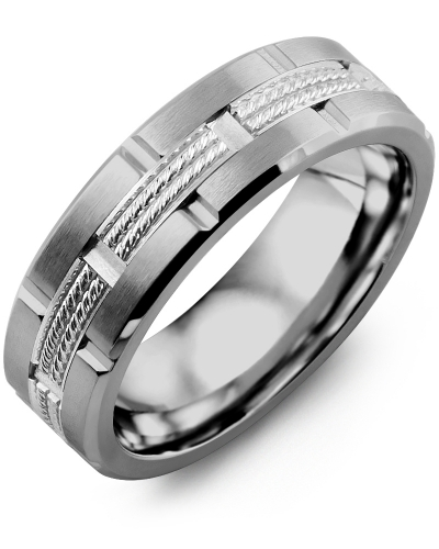 Men's & Women's Tungsten Brush Grooves & White Gold Wedding Band from MADANI Rings. Wedding bands, fashion rings, promise rings, made of Tungsten, Ceramic, Cobalt, and Gold. View the collection at madanirings.com