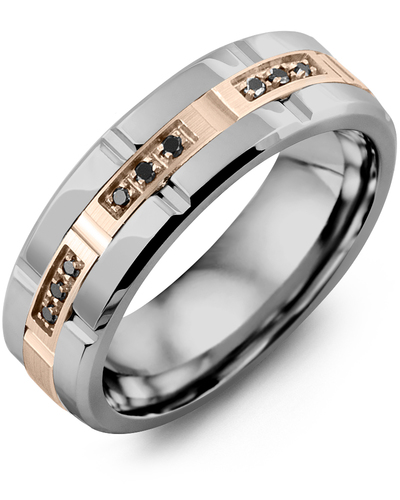 Men's & Women's Tungsten Polish Grooves & Rose Gold + 9 Black Diamonds 0.09ct Wedding Band