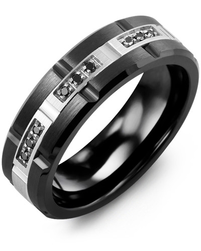 Men's & Women's Black Ceramic Brush Blades & White Gold + 9 Black Diamonds tcw 0.09 Wedding Band