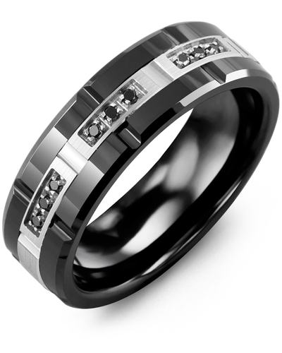Men's & Women's Black Ceramic Polish Grooves & White Gold + 9 Black Diamonds 0.09ct Wedding Band