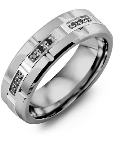 Men's & Women's Tungsten Polish Grooves & White Gold + 9 Black Diamonds 0.09ct Wedding Band from MADANI Rings. Wedding bands, fashion rings, promise rings, made of Tungsten, Ceramic, Cobalt, and Gold. View the collection at madanirings.com
