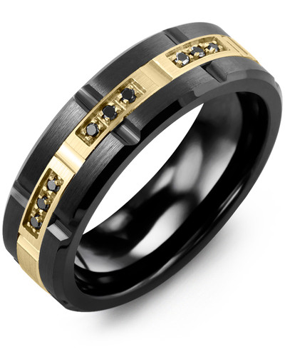 Men's & Women's Black Ceramic Brush Blades & Yellow Gold + 9 Black Diamonds tcw 0.09 Wedding Band