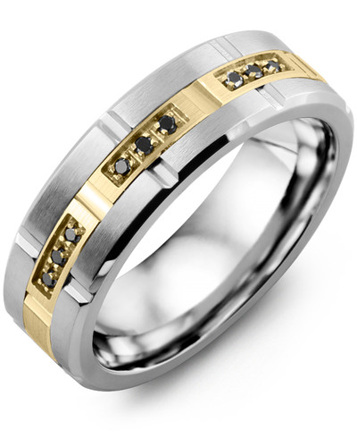 Men's & Women's Tungsten Brush Blades & Yellow Gold + 9 Black Diamonds tcw 0.09 Wedding Band