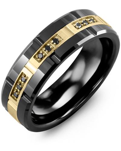 Men's & Women's Black Ceramic Polish Grooves & Yellow Gold + 9 Black Diamonds 0.09ct Wedding Band