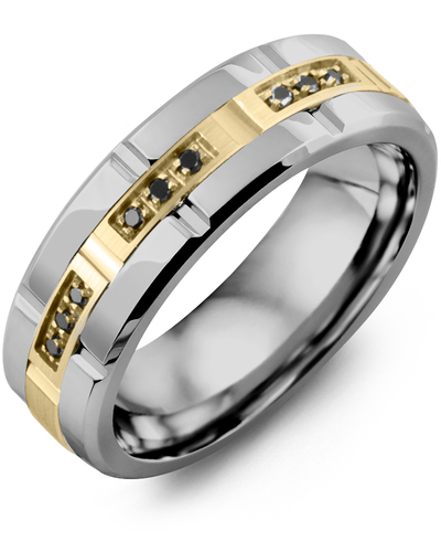 Men's & Women's Tungsten Polish Grooves & Yellow Gold + 9 Black Diamonds 0.09ct Wedding Band