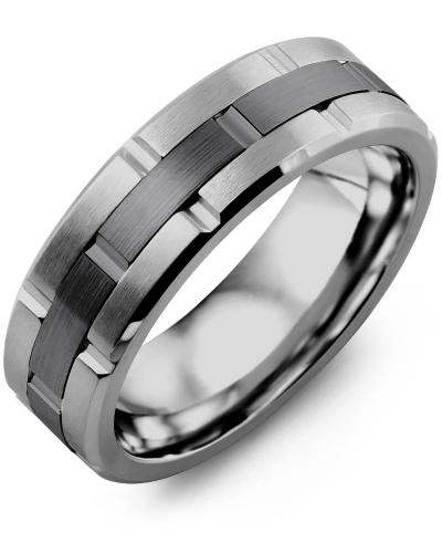Men's & Women's Tungsten Brush Grooves & Black Gold Wedding Band