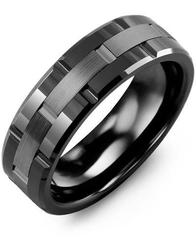 Men's & Women's Black Ceramic Polish Grooves & Black Gold Wedding Band