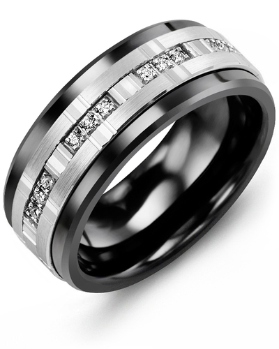 Men's & Women's Black Ceramic & White Gold + 12 Diamonds 0.12ct Wedding Band