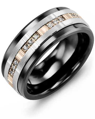 Men's & Women's Black Ceramic & White/Rose Gold + 12 Diamonds tcw 0.12 Wedding Band from MADANI Rings. Wedding bands, fashion rings, promise rings, made of Tungsten, Ceramic, Cobalt, and Gold. View the collection at madanirings.com