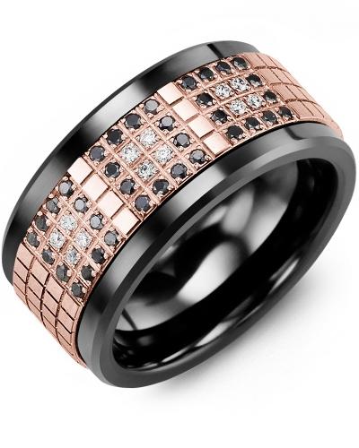 Men's & Women's Black Ceramic & Rose Gold + 48 Black White Diamonds 0.48ct Wedding Band