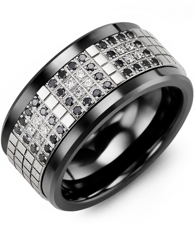 Men's & Women's Black Ceramic & White Gold + 48 Black White Diamonds 0.48ct Wedding Band