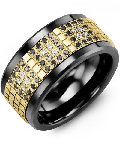 Men's & Women's Black Ceramic & Yellow Gold + 48 Black White Diamonds 0.48ct Wedding Band