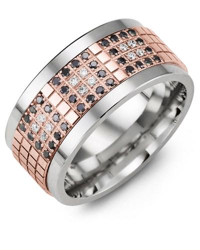 Men's & Women's Tungsten & Rose Gold + 48 Black White Diamonds 0.48ct Wedding Band