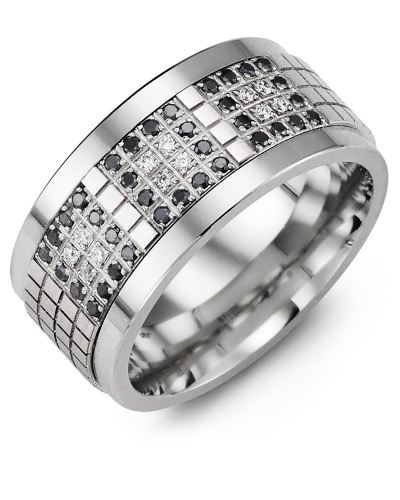 Men's & Women's Tungsten & White Gold + 48 Black White Diamonds 0.48ct Wedding Band