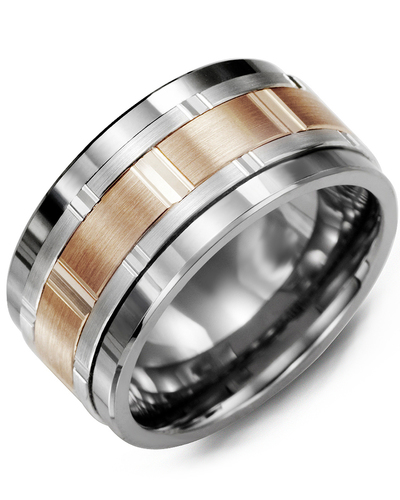 Men's & Women's Tungsten & White/Rose Gold Wedding Band from MADANI Rings. Wedding bands, fashion rings, promise rings, made of Tungsten, Ceramic, Cobalt, and Gold. View the collection at madanirings.com