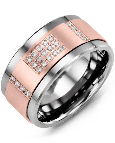 Men's & Women's Cobalt & Rose Gold + 31 Diamonds 0.31ct Wedding Band