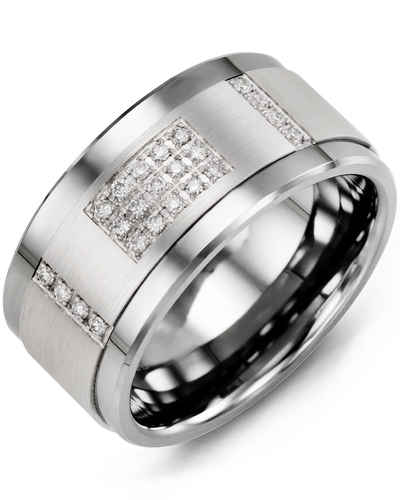 Men's & Women's Cobalt & White Gold + 31 Diamonds 0.31ct Wedding Band