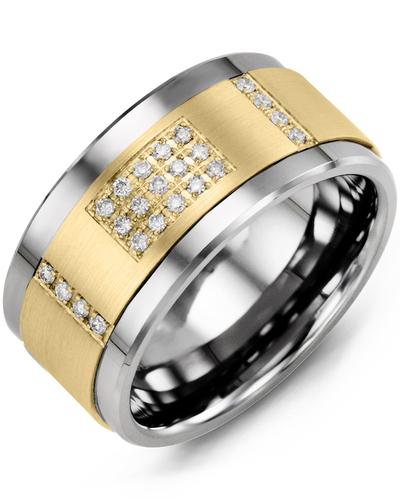 Men's & Women's Cobalt & Yellow Gold + 31 Diamonds 0.31ct Wedding Band