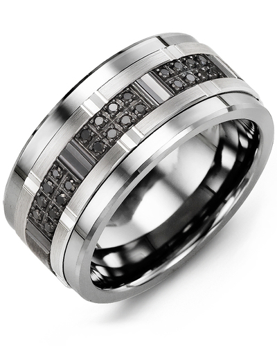 Men's & Women's Tungsten & White/Black Gold + 24 Black Diamonds 0.24ct Wedding Band from MADANI Rings. Wedding bands, fashion rings, promise rings, made of Tungsten, Ceramic, Cobalt, and Gold. View the collection at madanirings.com