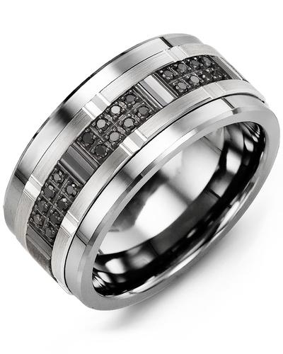 Men's Black Diamonds Wide Wedding Band