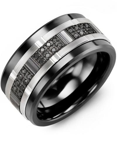 Mens Black Diamonds Wide Wedding Band MADANI Rings