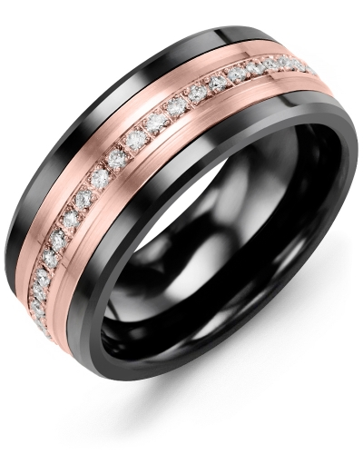 Men's & Women's Black Ceramic & Rose Gold + 21 Diamonds tcw 0.21 Wedding Band 10K 9mm