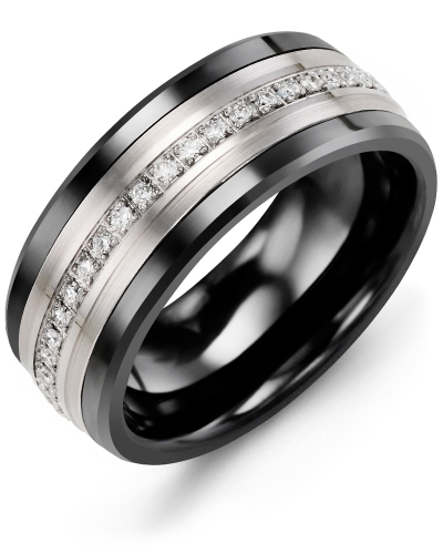 Men's & Women's Black Ceramic & White Gold + 21 Diamonds tcw 0.21 Wedding Band 10K 9mm