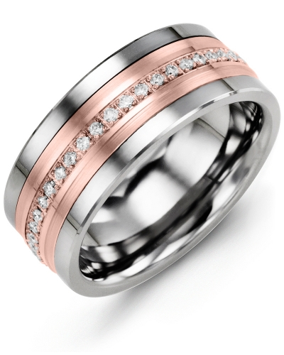Men's & Women's Cobalt & Rose Gold + 21 Diamonds 0.21ct Wedding Band