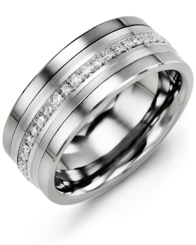 Men's & Women's Cobalt & White Gold + 21 Diamonds tcw 0.21 Wedding Band from MADANI Rings. Wedding bands, fashion rings, promise rings, made of Tungsten, Ceramic, Cobalt, and Gold. View the collection at madanirings.com