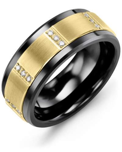 Men's & Women's Black Ceramic & Yellow Gold + 12 Diamonds 0.12ct Wedding Band