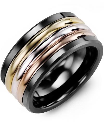 Men's & Women's Black Ceramic & Yellow White Rose Gold Wedding Band 14K 11mm