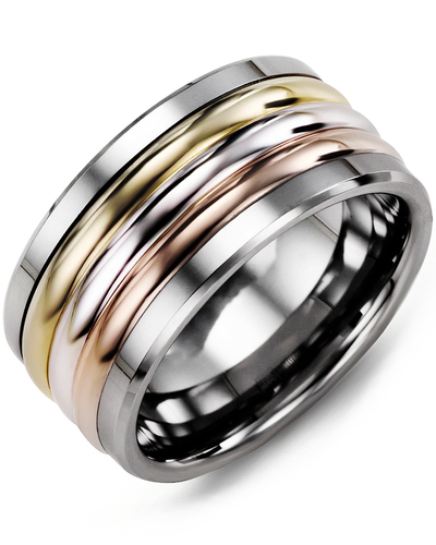 Men's & Women's Tungsten & Yellow White Rose Gold Wedding Band from MADANI Rings. Wedding bands, fashion rings, promise rings, made of Tungsten, Ceramic, Cobalt, and Gold. View the collection at madanirings.com