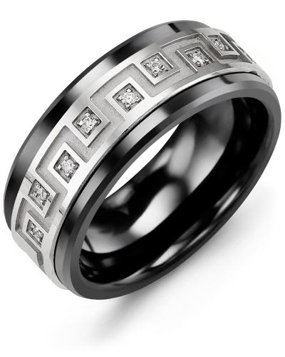 Men's & Women's Black Ceramic & White Gold + 9 Diamonds 0.09ct Wedding Band