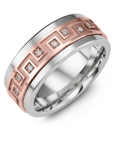 Men's & Women's Cobalt & Rose Gold + 9 Diamonds 0.09ct Wedding Band