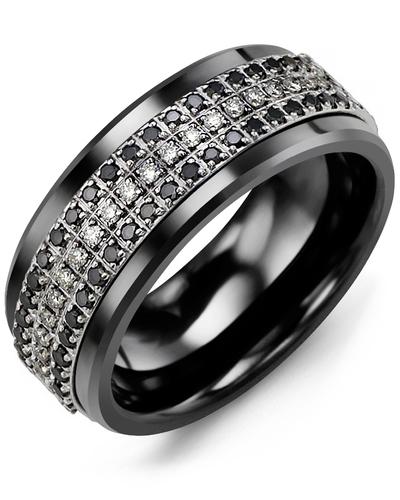 Men's & Women's Black Ceramic & White Gold + 63 Black White Diamonds 0.63ct Wedding Band