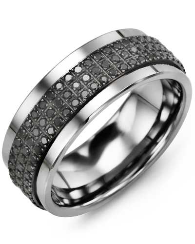 Men's & Women's Tungsten & Black Gold + 135 Black Diamonds 1.35ct Wedding Band