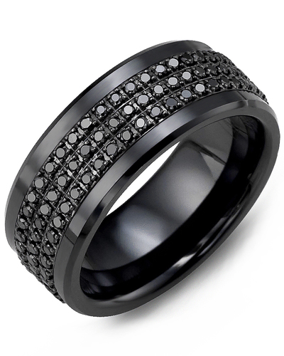 Men's & Women's Black Ceramic & Black Gold + 135 Black Diamonds 1.35ct Wedding Band