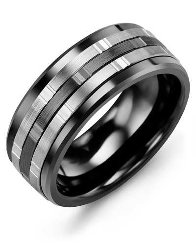 Men's & Women's Black Ceramic & White/Black Gold Wedding Band