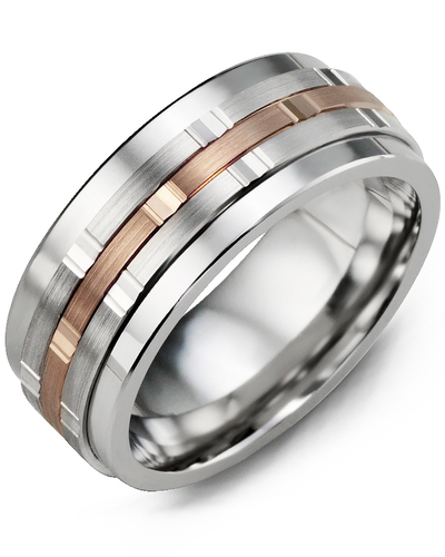 Men's & Women's Cobalt & White/Rose Gold Wedding Band from MADANI Rings. Wedding bands, fashion rings, promise rings, made of Tungsten, Ceramic, Cobalt, and Gold. View the collection at madanirings.com