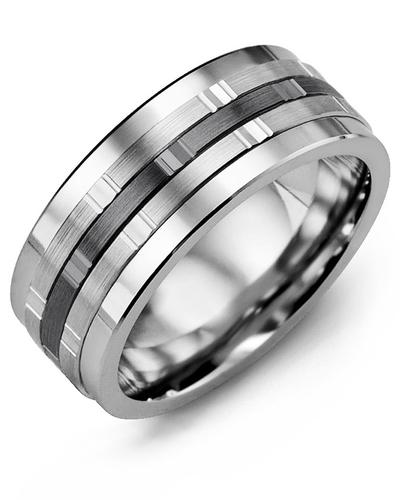 Men's & Women's Tungsten & White/Black Gold Wedding Band