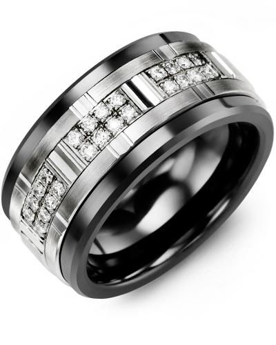 Men's Wide Grooved Diamond Wedding Ring